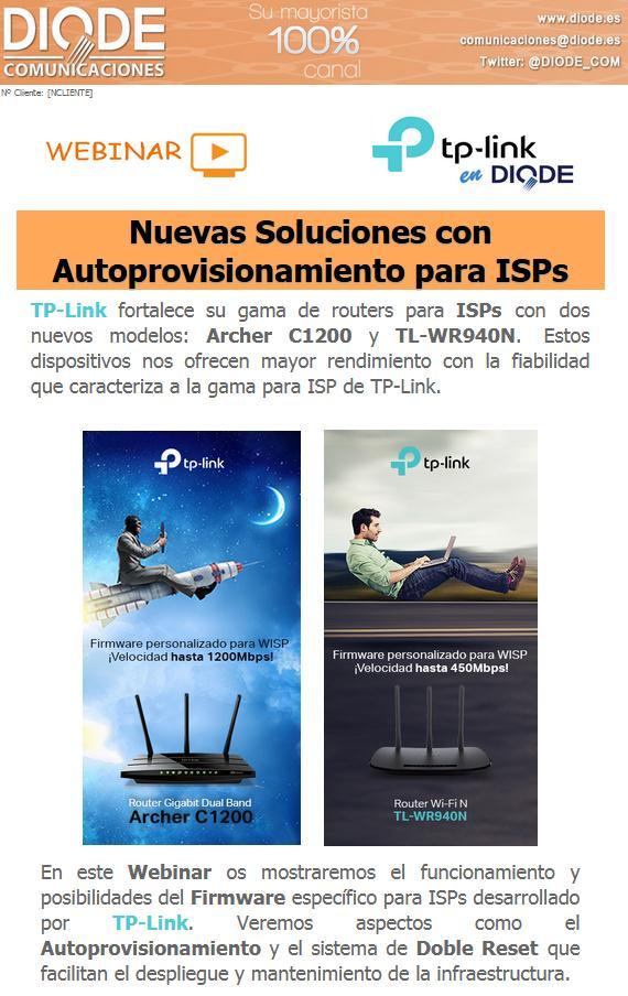 Webinar: Nuevas Soluciones TP-Link con Autoprovisionamiento para ISPs el 8 de Noviembre a las 10.00h