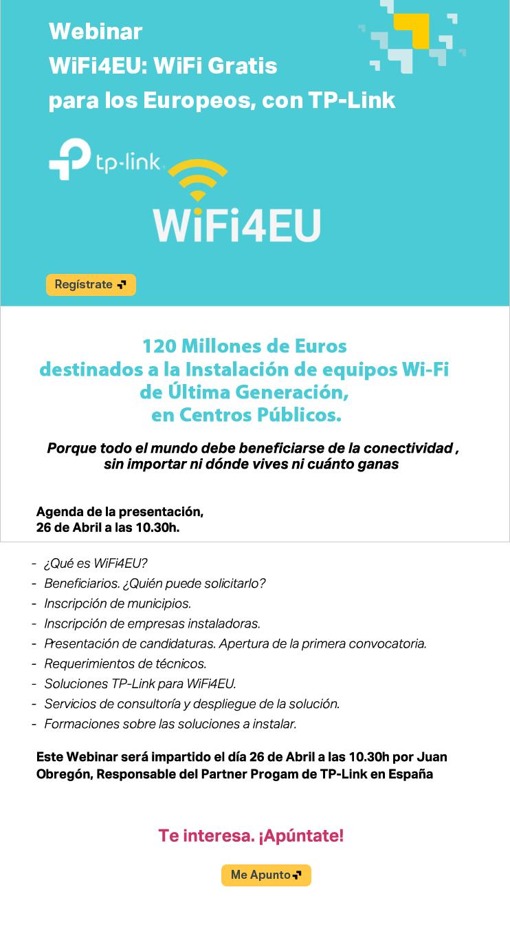 Webinar 26 de Abril: WiFi Gratis para los Europeos, con WiFi4EU  y TP-Link