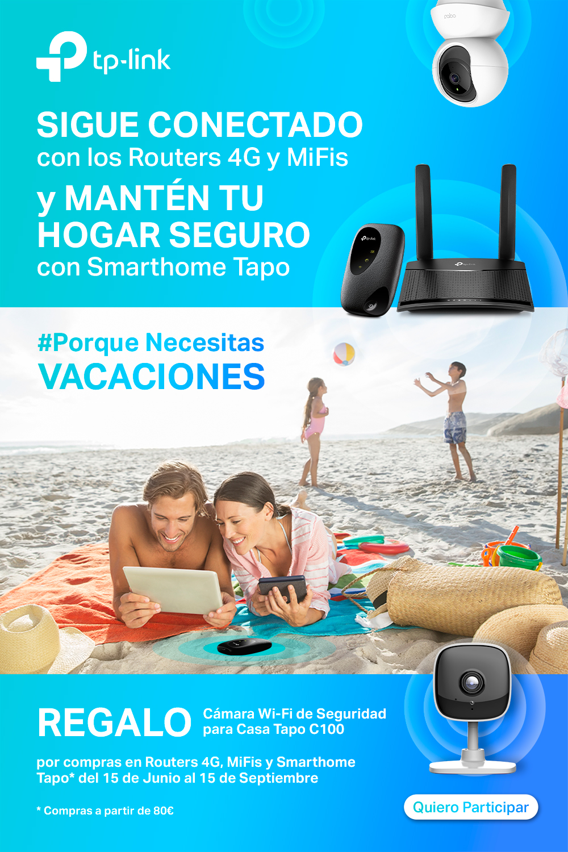 Campaña de verano: Sigue Conectado en Vacaciones con TP-Link y llévate de regalo una cámara smart TAPO